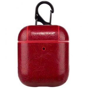 Чехол для наушников Leather series + карабин для Apple Airpods – Красный