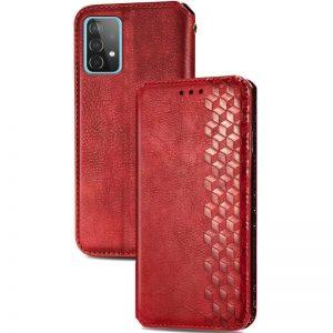 Кожаный чехол-книжка GETMAN Cubic для Samsung Galaxy A32 – Красный