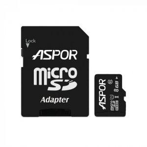 Карта памяти Aspor Micro SD 8GB Class 10 + SD adapter – Black
