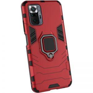 Ударопрочный чехол Transformer Ring под магнитный держатель для Xiaomi Redmi Note 10 Pro – Красный / Dante Red