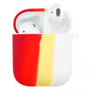 Силиконовый чехол Colorfull для наушников для Apple Airpods 1/2 – Красный / Белый