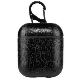 Чехол для наушников Leather series + карабин для Apple Airpods – Черный
