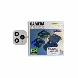 Защитное стекло на камеру с имитацией Iphone 11 Pro для Iphone X / XS / XS Max  – Silver