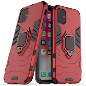 Ударопрочный чехол Transformer Ring под магнитный держатель для Iphone 11 – Red