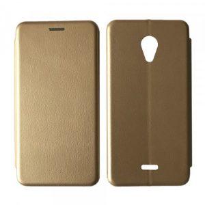 Кожаный чехол-книжка 360 с визитницей для Meizu C9 – Золотой