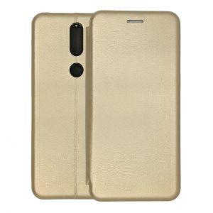 Кожаный чехол-книжка 360 с визитницей для Nokia 2.4 – Золотой