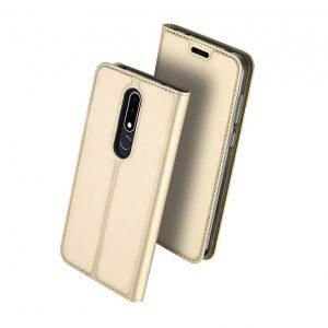 Чехол-книжка Dux Ducis с карманом для Nokia 3.1 Plus — Золотой