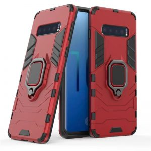 Ударопрочный чехол Transformer Ring под магнитный держатель для Samsung Galaxy S10 (G973) – Red