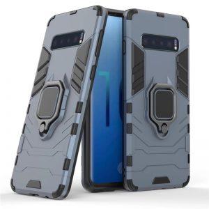 Ударопрочный чехол Transformer Ring под магнитный держатель для Samsung Galaxy S10 (G973) – Blue