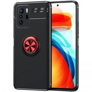 Cиликоновый чехол Deen ColorRing с креплением под магнитный держатель для Xiaomi Redmi Note 10 5G / Poco M3 Pro – Черный / Красный