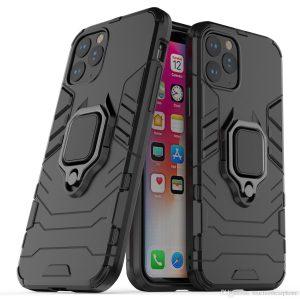 Ударопрочный чехол Transformer Ring под магнитный держатель для Iphone 12 Pro / 12 – Black