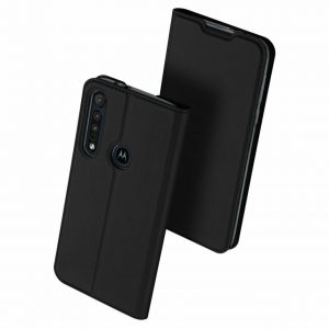 Чехол-книжка Dux Ducis с карманом для Motorola Moto G8 Plus — Черный