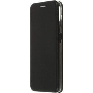 Кожаный чехол-книжка 360 с визитницей для Samsung Galaxy A22 / M32 – Черный