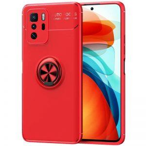 Cиликоновый чехол Deen ColorRing с креплением под магнитный держатель для Xiaomi Redmi Note 10 5G / Poco M3 Pro – Красный