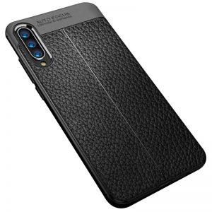 TPU чехол фактурный (с имитацией кожи) для Huawei P Smart S – Черный