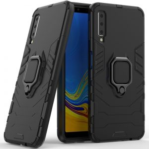 Ударопрочный чехол Transformer Ring под магнитный держатель для Samsung Galaxy A7 2018 (A750) – Black