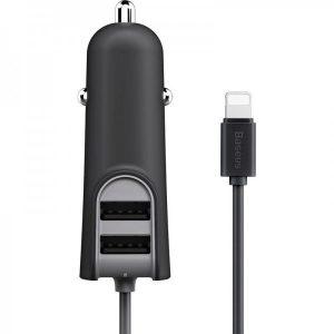 Автомобильное зарядное устройство Baseus Energy Station QC + кабель Lightning (2USB / 5.5A) – Black