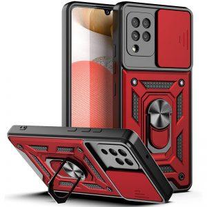Ударопрочный чехол Camshield Serge Ring со шторкой для камеры для Samsung Galaxy A12 / M12 – Красный