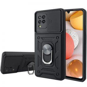 Ударопрочный чехол Camshield Serge Ring со шторкой для камеры для Samsung Galaxy A12 / M12 – Черный