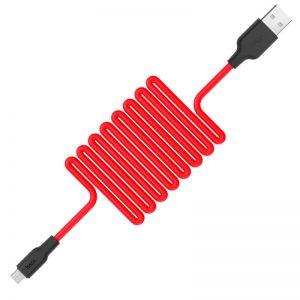 Кабель Hoco X21 Silicone MicroUSB 2A (1м) – Black / Red